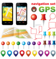 Navigation set with icons GPS vector image