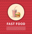 burger and soda cup poster cute cartoon colored vector image