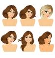 six attractive caucasian women faces vector image