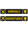 arrival and departures airport signs vector image