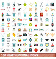 100 health journal icons set flat style vector image vector image