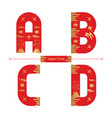 alphabet japan style in a set abcd vector image vector image