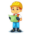 architect boy look into working plan vector image