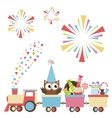 Birthday toy train with owl and sweets