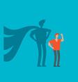 businessman with superhero shadow concept vector image vector image