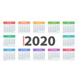 calendar 2020 year business template vector image