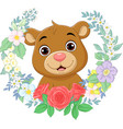 cartoon babear with flowers background vector image vector image