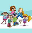 cartoon elementary school children group vector image