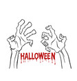 cartoon outline zombie hand flyer sale design vector image vector image