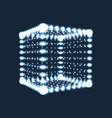 cube the cube consisting of points 3d glowing grid vector image vector image