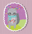 cute raccoon with candy cane merry christmas vector image