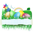 easter banner with easter eggs vector image vector image