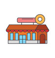 fast food cafe building line icon concept fast vector image