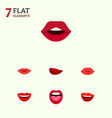 flat icon mouth set of smile kiss tongue and vector image vector image