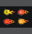 flat linear promotion fire banner price tag hot vector image