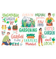 gardening letterings working people and other vector image vector image