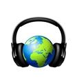 Globe with headphones vector image vector image