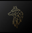 golden polygonal wolf isolated vector image