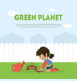 green planet banner template with cute girl vector image vector image
