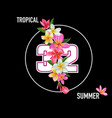 Hello summer floral poster with plumeria flowers