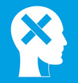 human head with cross inside icon white vector image