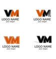 letters v and m of black and orange color a set vector image vector image