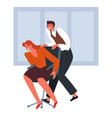man and woman riding office chair on break vector image vector image