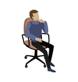 Man Sitting on Chair and Dreaming About Something vector image vector image