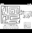 maze with cow for coloring vector image vector image
