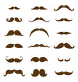 mustache collection black silhouette vector image vector image