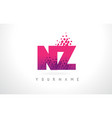 nz n z letter logo with pink purple color and vector image vector image