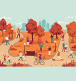 people in autumn park women and men relaxing vector image