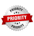 priority 3d silver badge with red ribbon vector image vector image