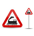 road sign warning railway crossing without barrier vector image vector image