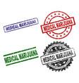 scratched textured medical marijuana stamp seals vector image
