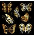 set gold butterflies vector image vector image