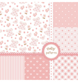 Set of baby girl patterns vector image vector image