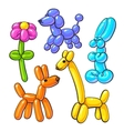 Set of balloon animals - dog poodle giraffe vector image