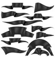 set of black ribbons flag collection vector image vector image