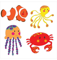 Set of cartoon sea creatures vector image