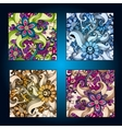 Set of four decorative ornamental ethnic cards in vector image