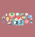 set stickers csr corporate social vector image