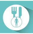 Silhouette person food icon design