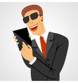 smiling business man holding tablet vector image