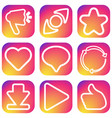 social network outline icons vector image vector image