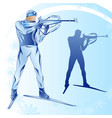 stylized figure of a biathlonist on a blue vector image