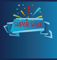 super sale isolated on blue background realistic vector image vector image