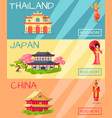 thailand japan and china types of houses banner vector image vector image