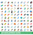 100 development icons set isometric 3d style vector image vector image