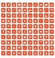 100 leaf icons set grunge orange vector image vector image